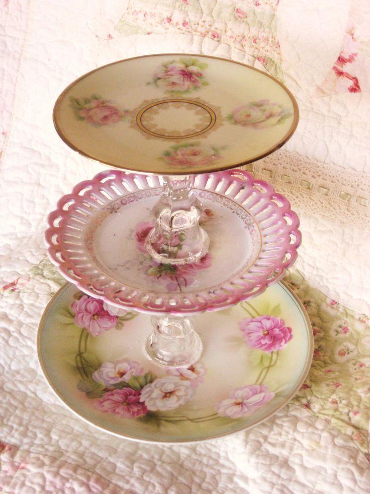 Shabby Chic Style  Pink Dessert Tier Plate. $20.00, via Etsy.