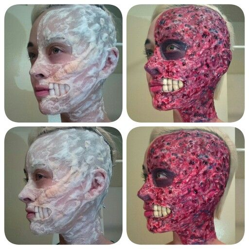 Two Face - Harvey Dent - Batman villain makeup - Look achieved with liquid latex, cotton balls, acrylic nails for the teeth, and Ben Nye Creme colors and bloods