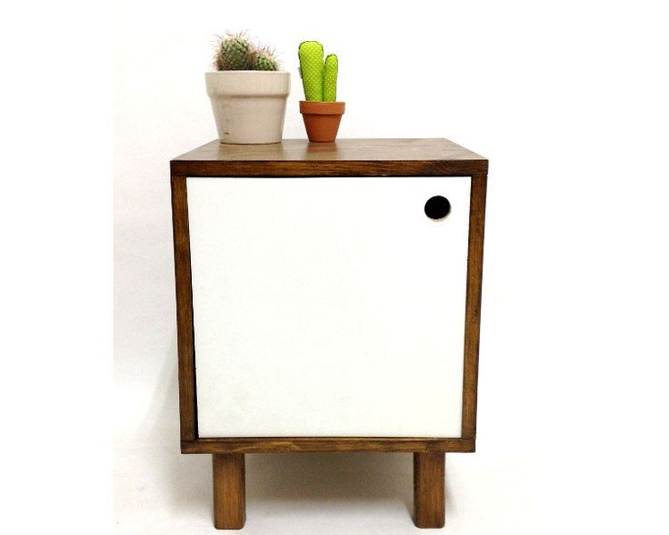Vinyl Record Storage, Mid Century Modern Table, Retro Nightstand, Record Storage, End Table, Bedside Table,  White Bedside Table by VintageHouseCoruna on Etsy