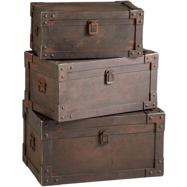 Set of 3 Yuma Industrial Loft Iron Stacking Storage Trunk (1,160 CAD) ❤ liked on Polyvore featuring home, home decor, small item storage, decor, fillers, furniture, backgrounds, storage trunk, iron home decor and industrial home decor