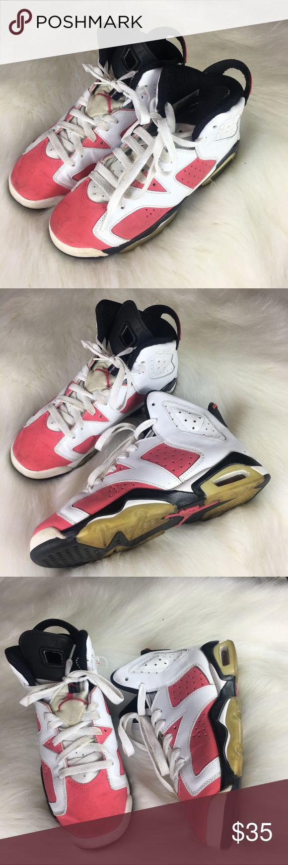 Nike Jordan VI GS White Coral Rose Size 5 Preloved Nike Jordan VI GS White and Coral Rose. Size 5Y. Signs of wear evident.   If you want it, make an offer ✅ I need to make room for new items so I love to negotiate. Bundle multiple items for the best savings. Pay one price of shipping 📦! Thanks for visiting Jordan Shoes Sneakers