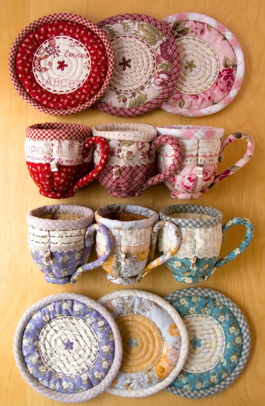 Quilted teacups by Laurraine Yuyama.  Patterns at PatchworkPottery: Tea Time:
