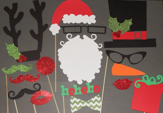 35 Piece Christmas Photo Booth Props Mustache by PhotoBoothgirls, $50.00 on etsy