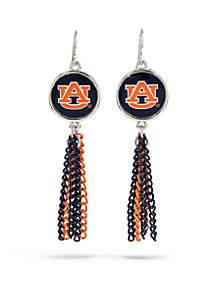 Silver-Tone Auburn University Chain Tassel Earrings