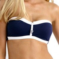 Seafolly Block Party Indigo Bandeau Bustier Bikini Top | Coco Bay