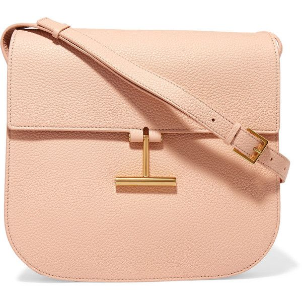 TOM FORD T Clasp textured-leather shoulder bag ($1,775) ❤ liked on Polyvore featuring bags, handbags, shoulder bags, pink, tom ford, blush, red purse, cross body cell phone purse, red cross body purse and crossbody handbags