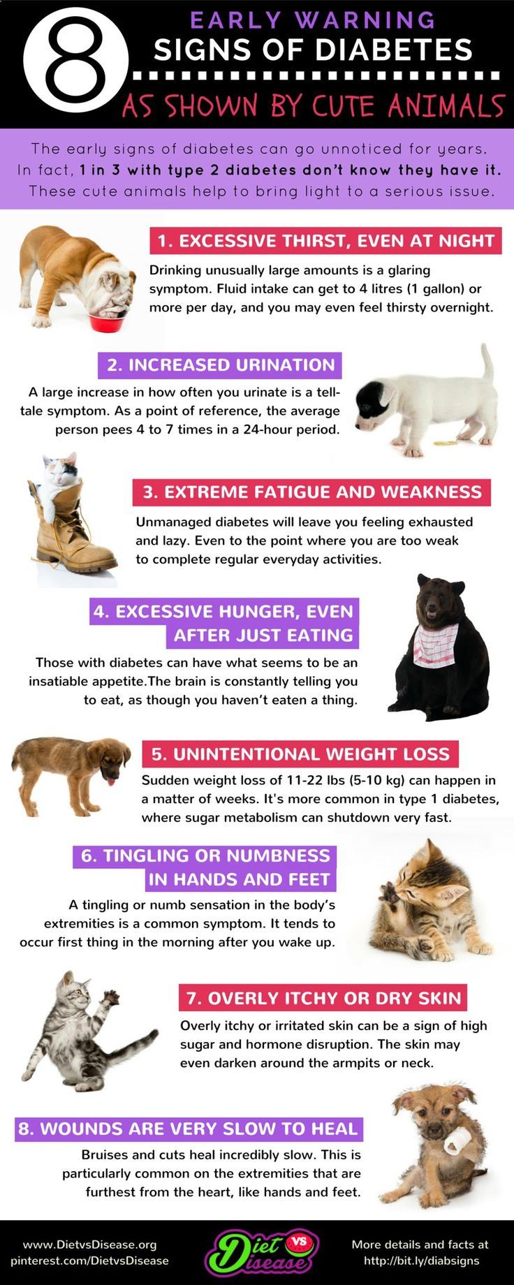 1 in 3 people with type 2 #diabetes don't know they have it. And a 3-year delay in diagnosis increases your risk of heart disease by 29%. Most actually do experience the early signs but don't realise or understand what they are. Hoping these cute animals can bring light to an important topic. Adapted from www.dietvsdisease...