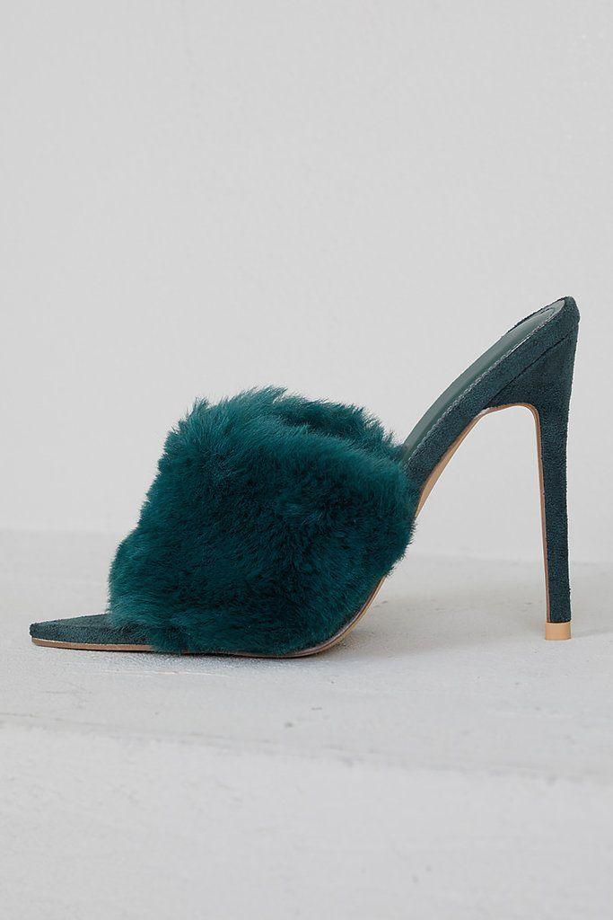 Faux Fur Mule Heels (Green) | Heeled