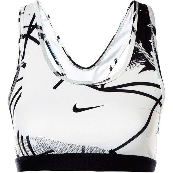 Nike X Johanna F.Schneider White Digital Print Sports Bra ($87) ❤ liked on Polyvore featuring activewear, sports bras, tops, bra, underwear, racerback sports bra, white sports bra and racer back sports bra