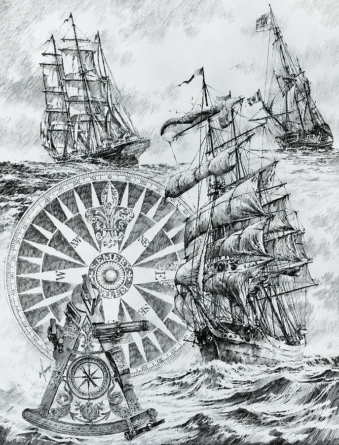 Maritime Heritage Drawing  - Maritime Heritage Fine Art Print