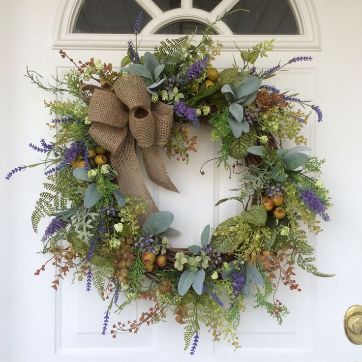 Spring Wreath-Lavender Wreath-Summer Wreath-Spring Door Wreath-Provençal Wreath-French Country Wreath-Herb Wreath-Mother's Day Gift by ReginasGarden on Etsy https://www.etsy.com/listing/292029909/spring-wreath-lavender-wreath-summer