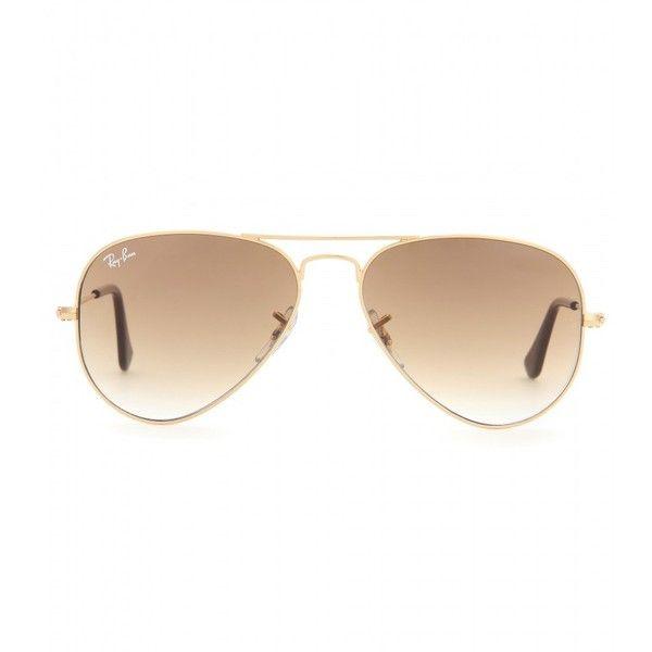 Ray-Ban RB3025 Aviator Sunglasses featuring polyvore, fashion, accessories, eyewear, sunglasses, glasses, sunnies, brown, ray ban glasses, ray ban sunglasses, brown sunglasses, aviator glasses and ray-ban