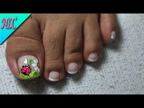 DECORACIÓN DE UÑAS PARA PIES MARIQUITA Y FLOR♥ -FLOWER NAIL ART - LADYBUG NAIL ART - NLC - YouTube