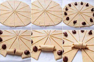 Cornetti alla Nutella - INGREDIENTI: - pasta sfoglia già pronta, Nutella