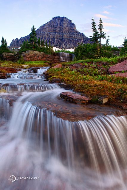 Glacier's Cascades, Glacier National Park, Montana #mountain #waterfall #places #usa #travel