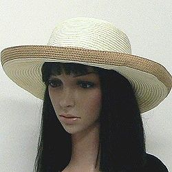 A kettle shape makes a cute two-tone fashion hat in natural colors.  These summer hats have a 3.5-inch brim that flips up at the edge.  Browse more wholesale fashion hats by clicking on the link.  http://www.awnol.com/store/Hats/Wholesale-Fashion-Hats