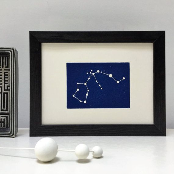 Aquarius Star Sign Constellation Zodiac Horoscope Woodblock Framed Print. Personalised with name and date of birth unique Birthday Gift.