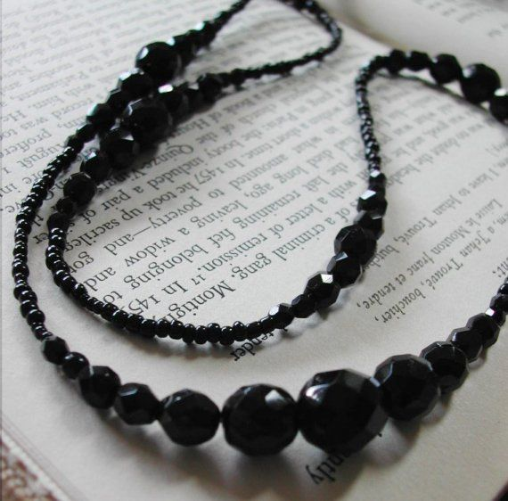Super Long Black Glass Crystal Downton Abbey Inspired Necklace!