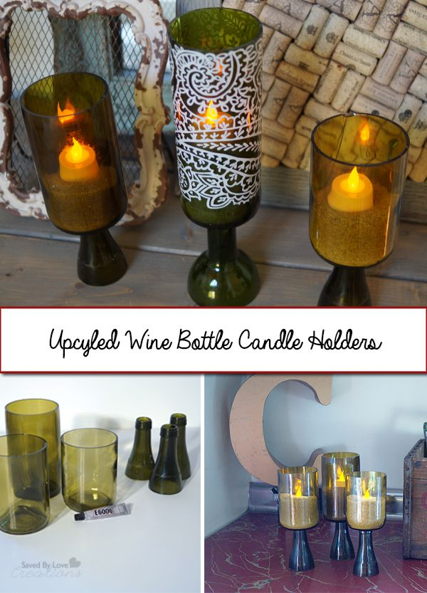 How to Upcycle Wine Bottles into Candle Holders @savedbyloves @proteawines