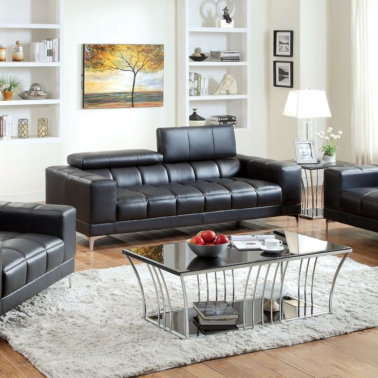 Furniture Of America Eona Bonded Leather Pneumatic Gas Lift Headrest Sofa    Overstock™ Shopping