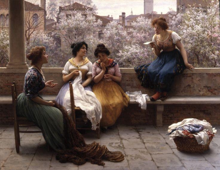 Eugene de Blaas (1843-1932)~Conversation On The Terrace, Venice
