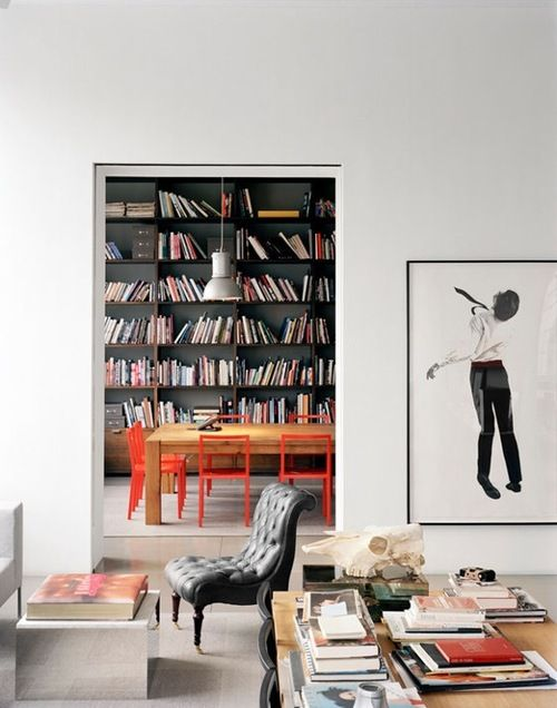 love the bookshelf but also those bright red chairs!: Decor, Modern Interiors Design, Bookshelves, Dark Rooms, Bookcases, Living Room, Red Chairs, Offices Libraries, Black Bookcase