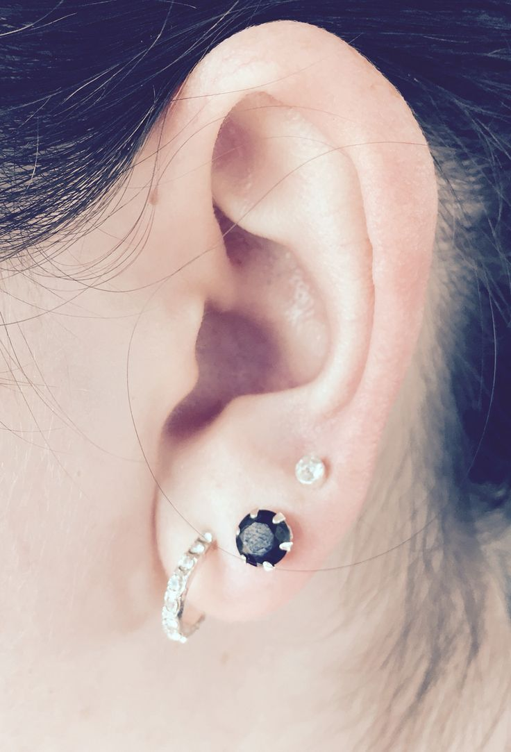 Triple Lobe Piercing With Studs And Hoop