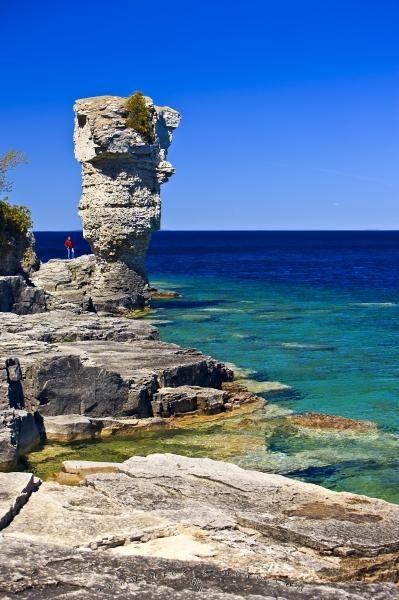 Sea stack on Flowerpot Island, Lake Huron, Ontario