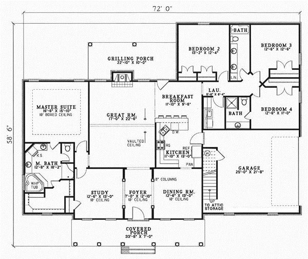 Country Style House Plans   2493 Square Foot Home , 1 Story, 4 Bedroom And