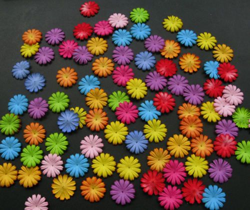 "100 Mixed Colors 25 mm 1"" Mulberry Daisy Scrapbook Embellish Paper Flowers 