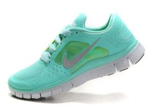 UN9F Damen Nike Free Run 3 Mint Grün Tropical Twist Reflective Silber Tiffany Blau/Teal