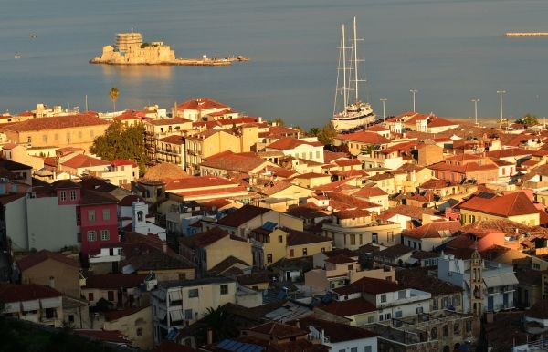 The Old Town of Nafplion and Bourtzi Fortress at the sea