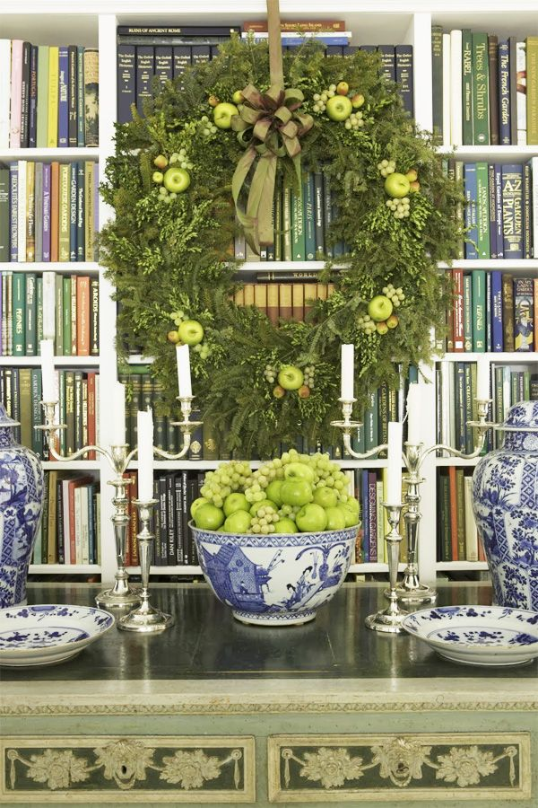 Carolyne Roehm's gorgeous Christmas decor via The Pink Pagoda: Dreaming of a Blue and White Christmas