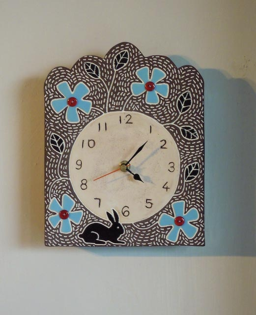 Flower and Rabbit Clock