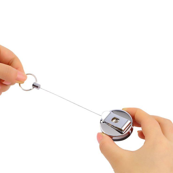 1 unid Cinturón de Herramientas de acero Inoxidable Dinero Llave Retráctil Recoil Tirón del Anillo de la Cadena Llavero Clip Llavero