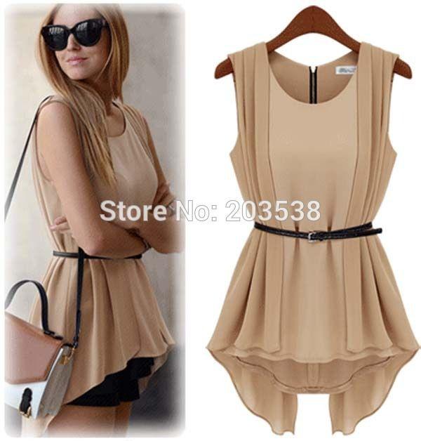 2015 новинка женская элегантный шифон блузка рубашка без рукавов дамы офис рубашка свободного покроя тонкий ласточкин хвост рубашка с пояса(China (Mainland))