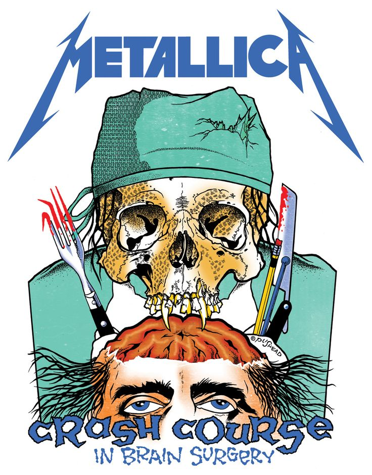 Your Guide To Our Rare Metallica Posters - Metal Hammer | In 1986 Metallica commissioned Pushead to create artwork for their Damage Inc,. tour, initiating a relationship which continues to this day. This artwork actually featured on an ultra-rare Metallica promo item, a surgical smock, released in 1987: only 300 were ever made, and the item was solely available to MetClub members.