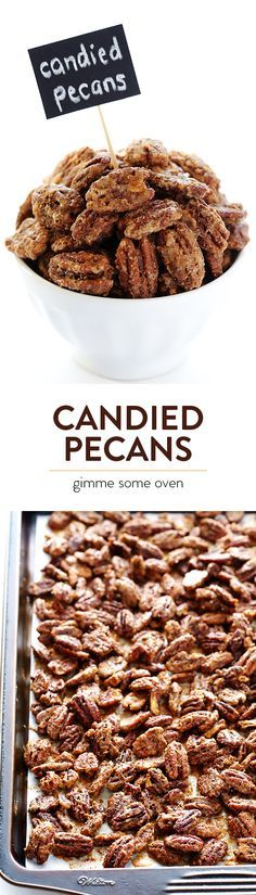This delicious recipe for candied pecans is super-easy to make, and perfect for snacking, or topping your favorite salads or desserts | http://gimmesomeoven.com