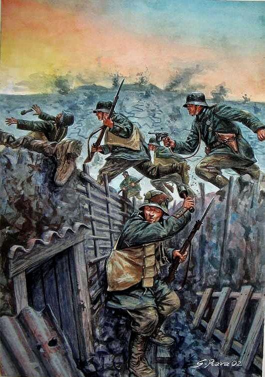 La infantería alemana atacando las posiciones francesas durante la batalla por Verdún. Artista Giusseppe Rava. Más en www.elgrancapitan.org/foro