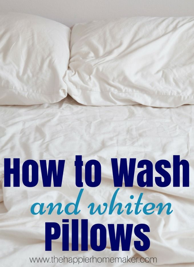 Are your pillows looking dingy and yellow? Clean and brighten your pillows with this easy to follow tutorial from The Happier Homemaker.
