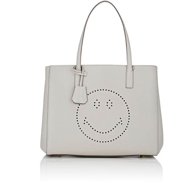 Anya Hindmarch Women's Ebury Shopper Tote Bag ($1,095) ❤ liked on Polyvore featuring bags, handbags, tote bags, light grey, anya hindmarch tote bag, perforated purse, perforated tote bag, bow handbag and perforated tote