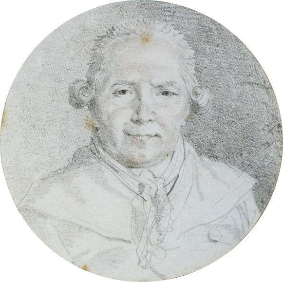 Auto-retrato. Desenho em giz preto aumentado com lápis vermelho. Jean-Honoré Fragonard (Grasse, Alpes Marítimos, França, 05/04/1732 - 22/08/1806, Paris, França). Encontra-se no Museu do Louvre, em Paris, França.