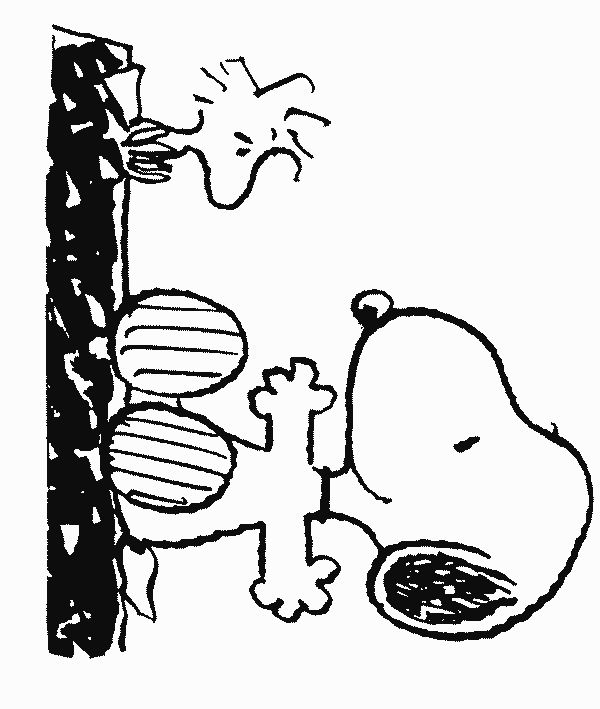 snoopy and woodstock coloring page