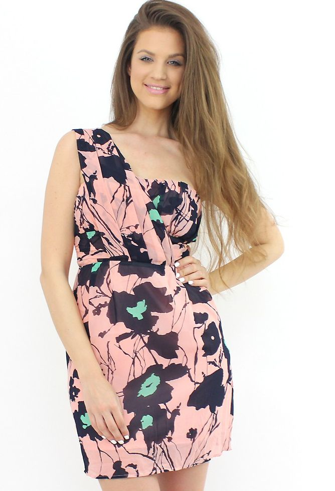 One-Shoulder Pink Dress- team it up with chic stilettos or high-heel sandals...:)  #shopping #moda #dress #floral #style #fashion