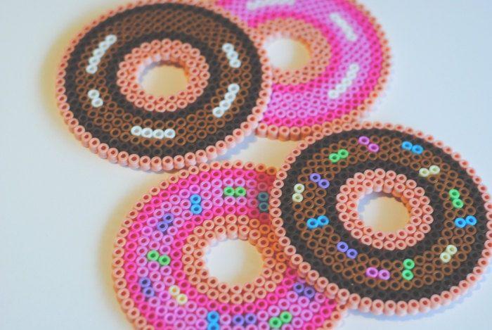 doughnut perler bead coasters