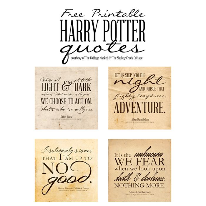 Love Harry Potter? Add a little magic to your home or party with these free Harry Potter printable quotes. Vintage style printables for personal use only. Resize for Project Life.