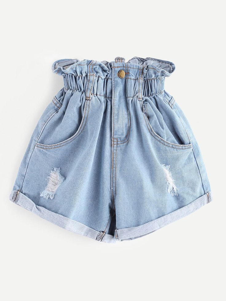 Shop Elastic Waist Ripped Denim Skirt online. SheIn offers Elastic Waist Ripped Denim Skirt & more to fit your fashionable needs.