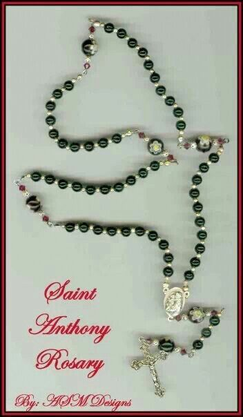 Saint Anthony of Padua Handmade Rosary accented with Ruby Swarovski Crystal Bicones and Murano Millefiori beads. ©ArtByASM
