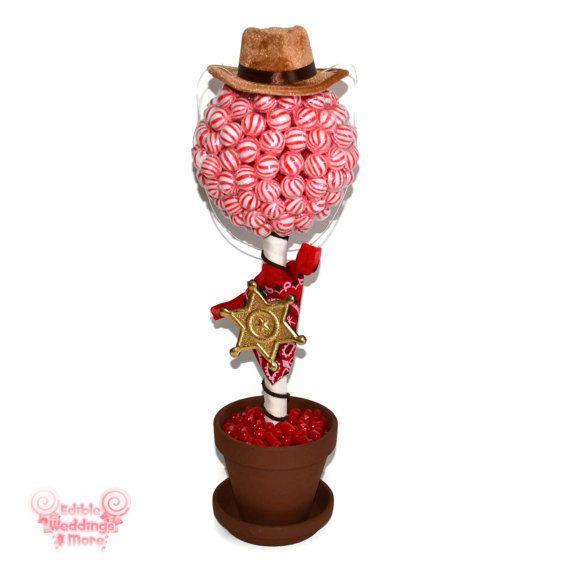 Sheriff Lollipop Candy Topiary Cowboy Birthday by EdibleWeddings, $54.99