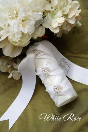 Swarovski crystals - personalized initial on satin ribbon